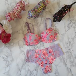 PINK VICTORIA'S SECRET Bra 32B and Panty S/M/L